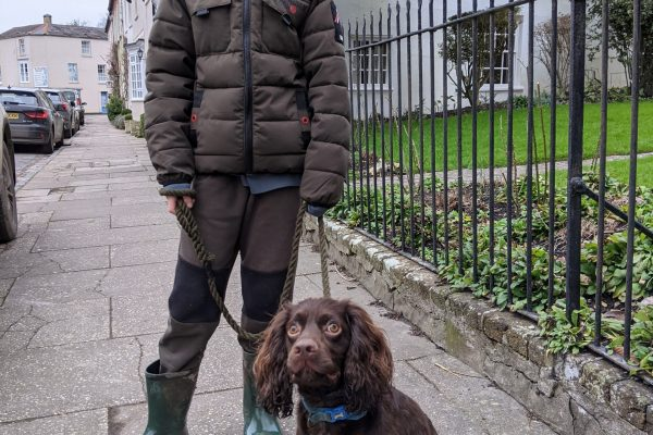 Alex & his dog wearing matching coats!