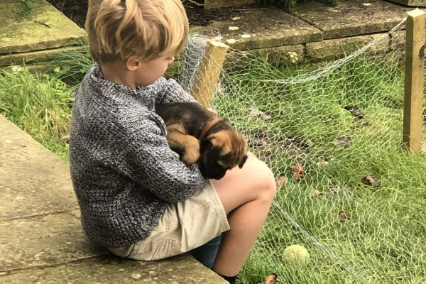 Max with new puppy Lilly