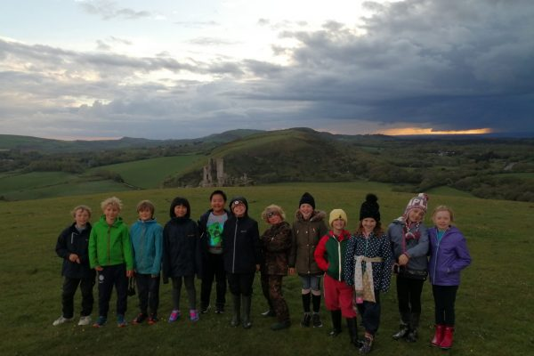 Evening walk with Corfe Castle behind